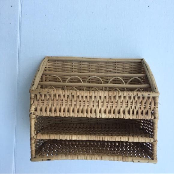 Vintage wicker letter holder basket boho
